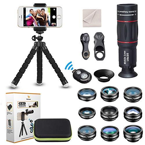 15 en 1 Kit de lentilles de caméra universel pour téléphone
