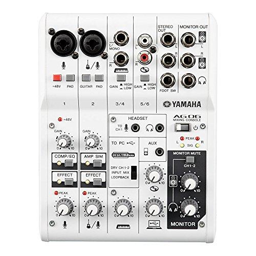 Yamaha AG06 – Table de mixage polyvalente avec interface USB audio pour le streaming et l'enregistrement – Blanche
