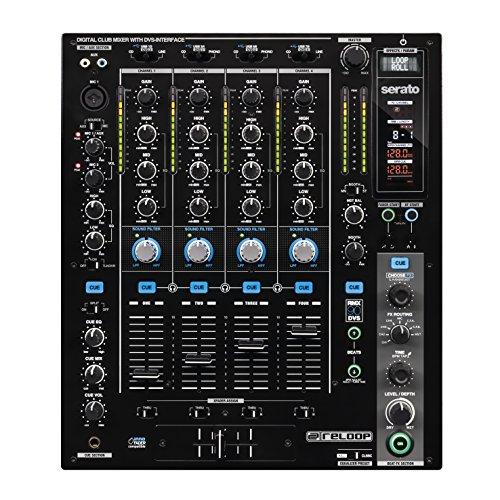Reloop RMX-90 DVS - Table de mixage 4+1 canaux pour DJ club avec interface audio DVS pour Serato DJ, triple hub USB, EQ 3 bandes, effets de beat DSP avec affichage LC, noir